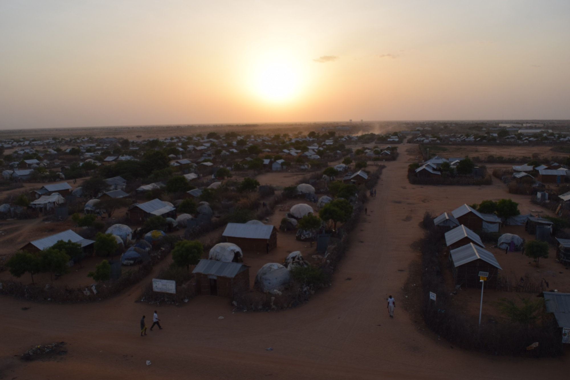 Dadaab refugee camp at sunset