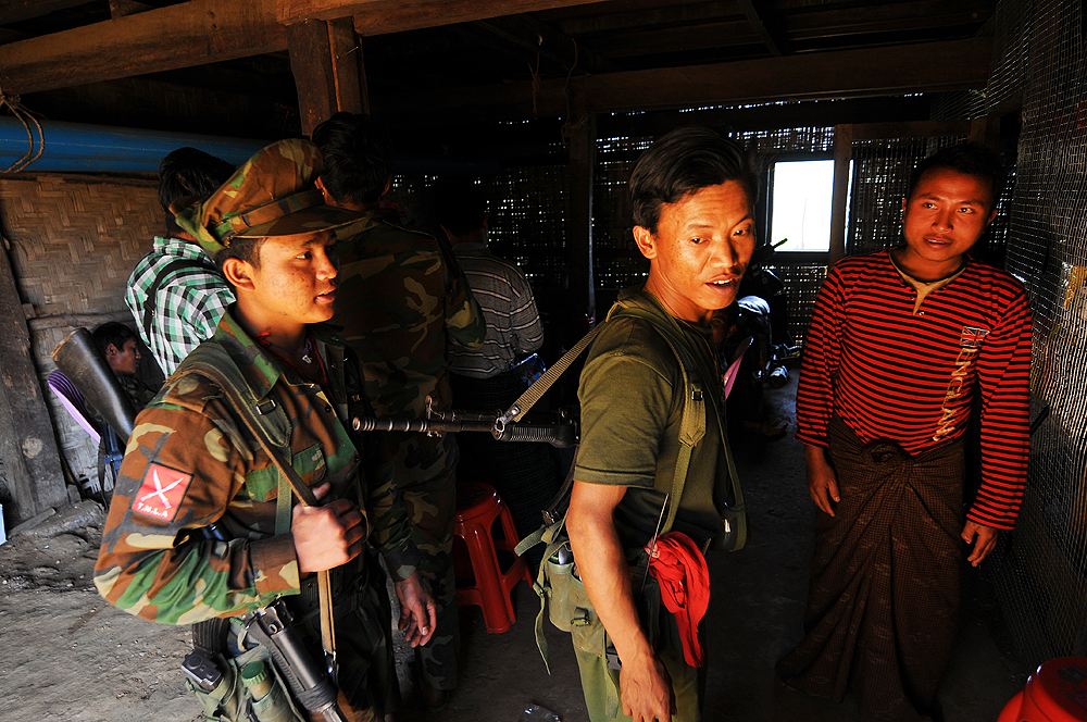 Soldiers with the Ta'ang National Liberation Army in February 2016 in Ban Lo village in Myanmar's Shan State
