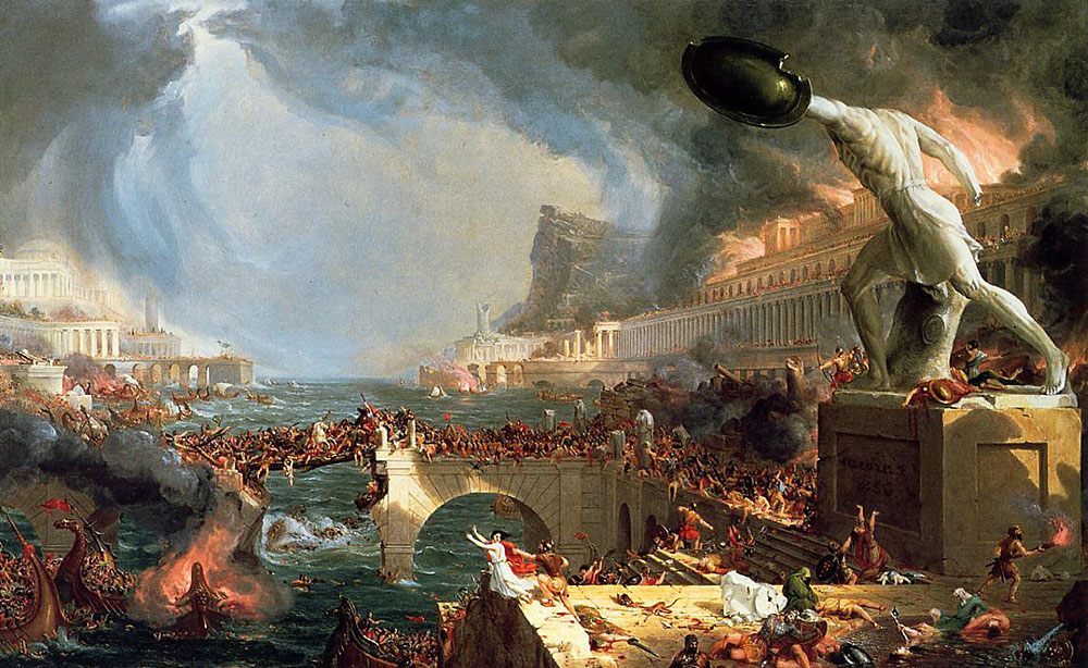 Destruction: A painting by American artist Thomas Cole (1836)