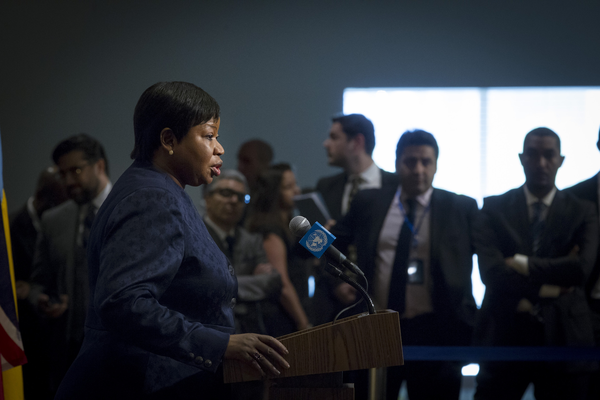Fatou Bensouda, prosecutor of the International Criminal Court, speaks to journalists after a briefing at the UN Security Council in May 2016.