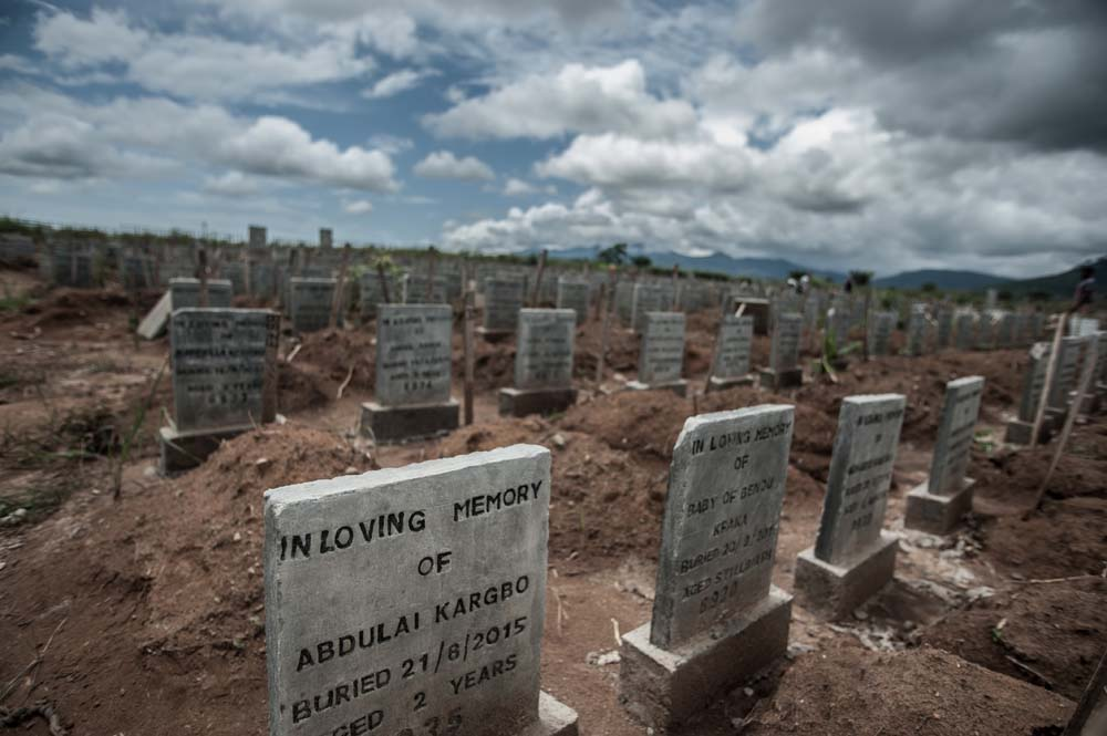 Grave markers of the many ebola victims in Sierra Leone since 2014