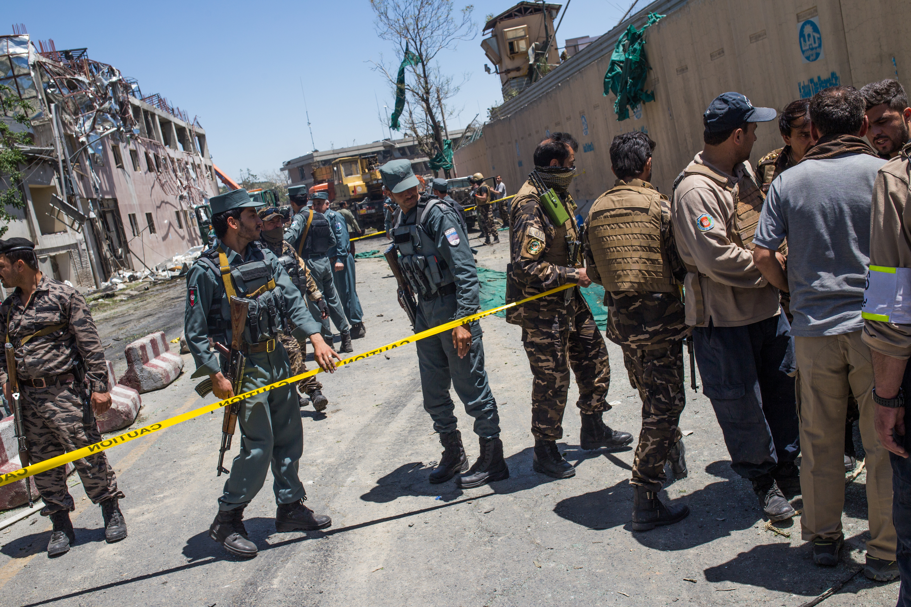 Security forces outside German embassy in Kabul, Afghanistan