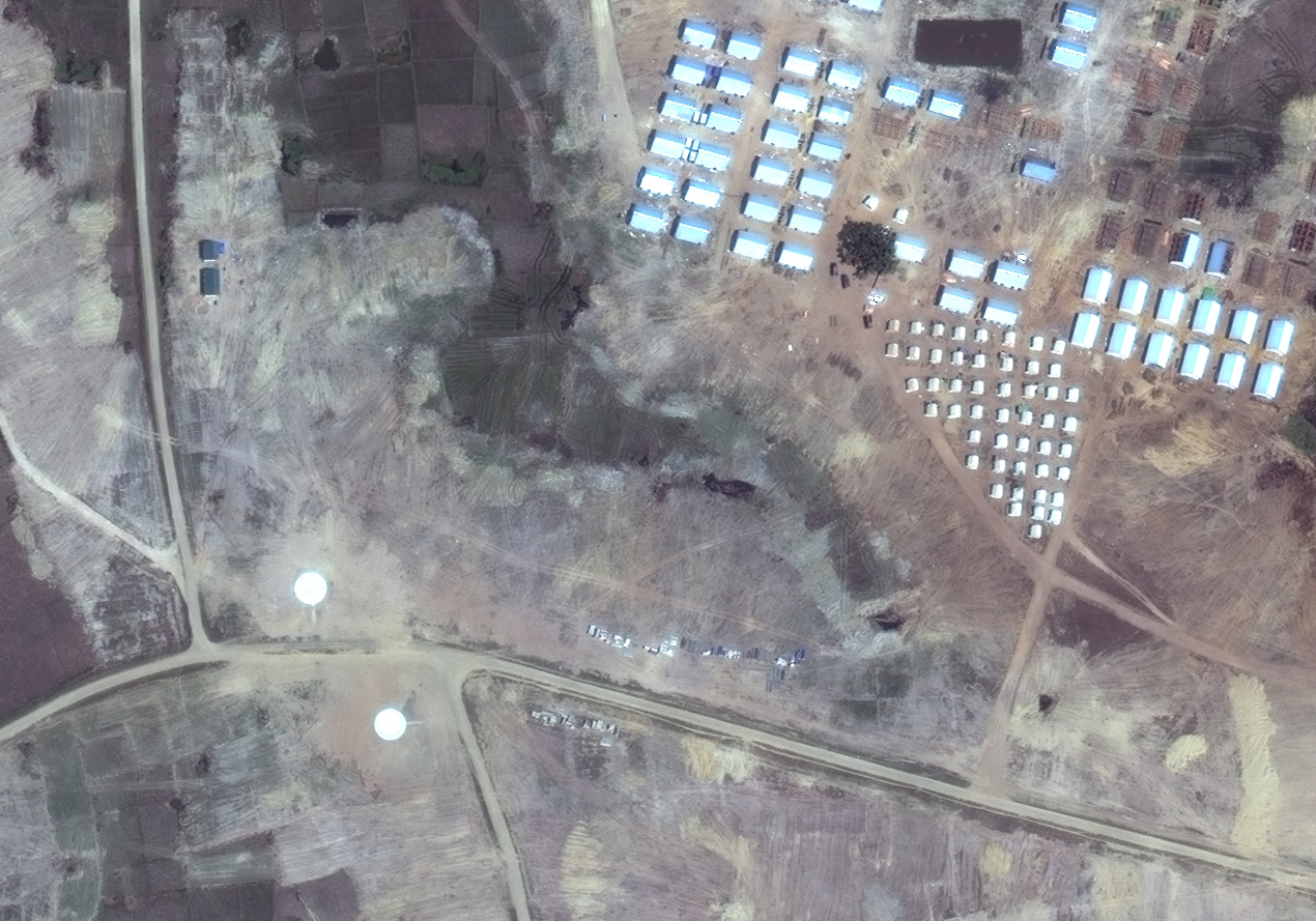 Satellite image of helicopter pads near Hla Poe Kaung