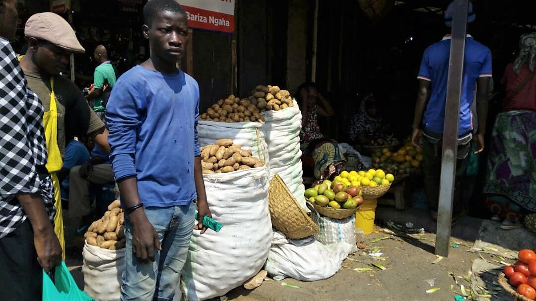 Potato seller in Bujumbura market