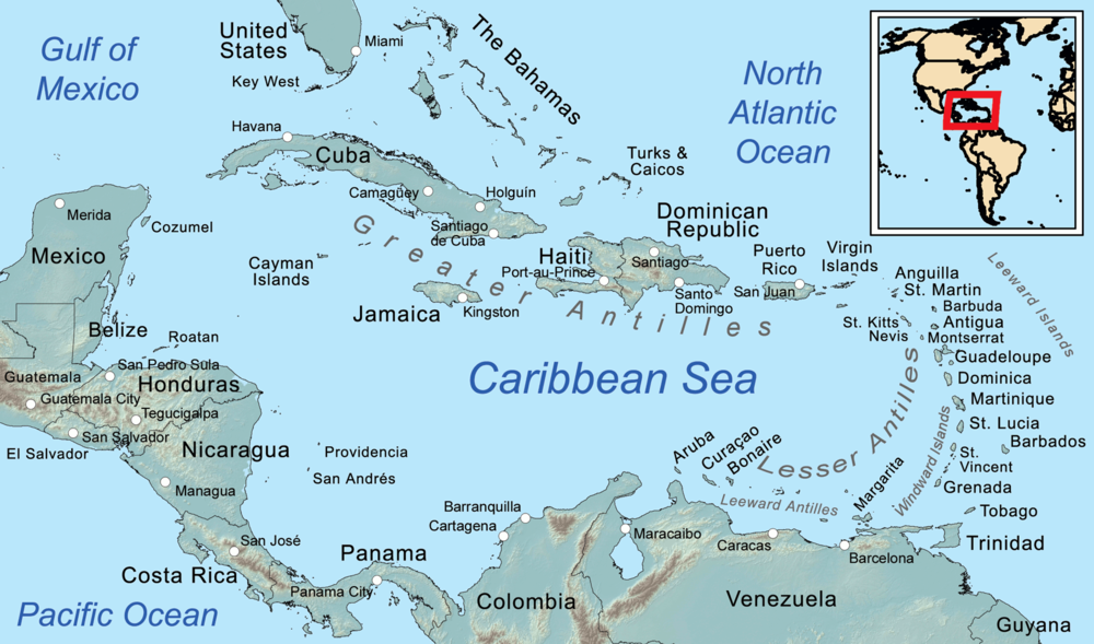 A general map of the Caribbean