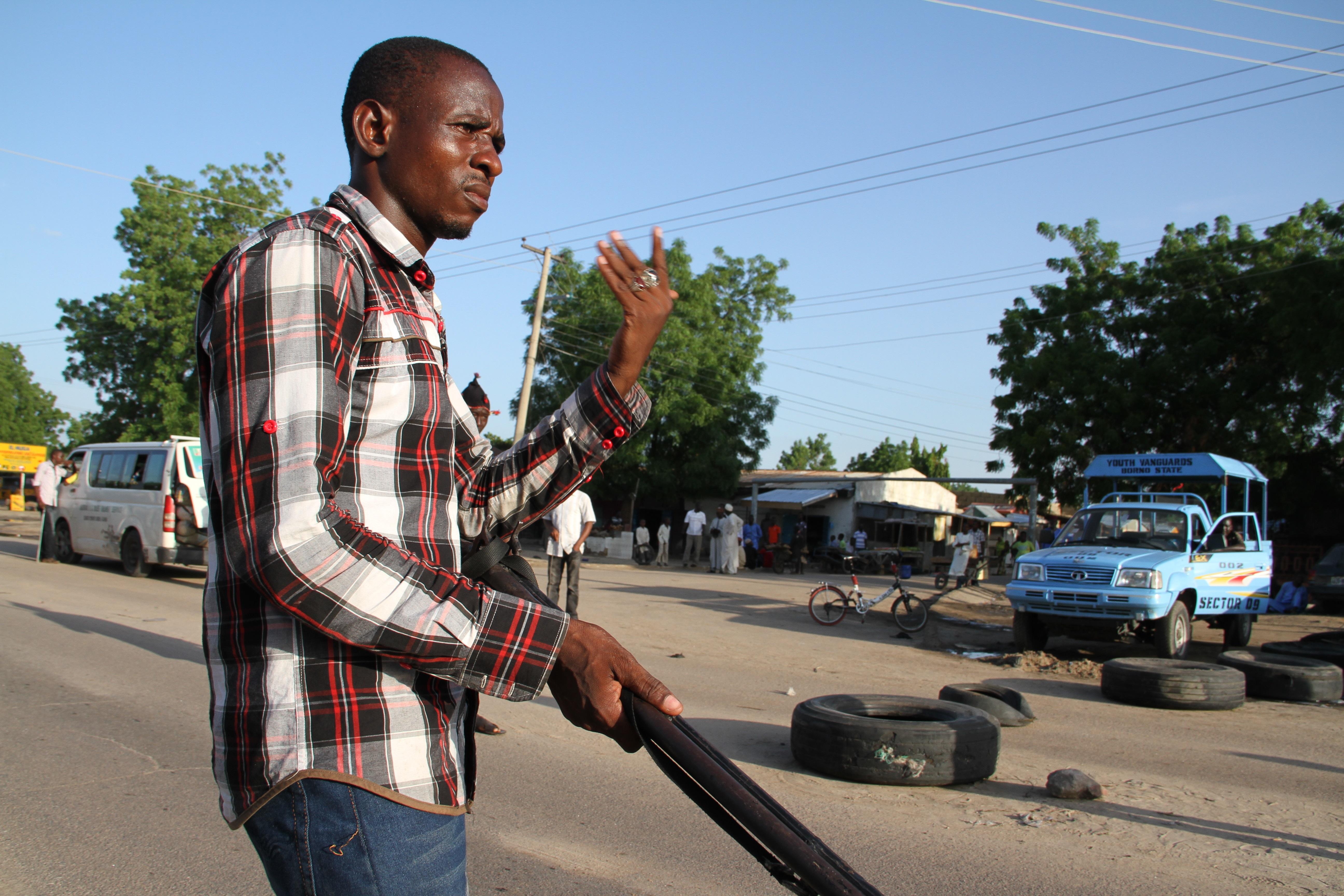 CJTF roadblock Maiduguri