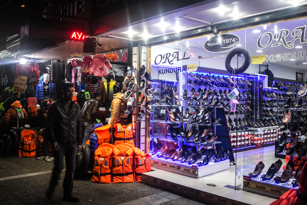 Many shops in Basmane stock lifejackets as a lucrative side-line