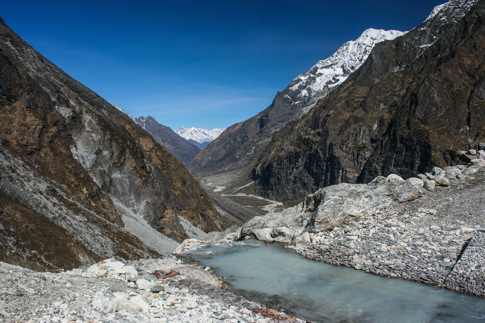 The controlled exit channel built in 2000 to lower the level of the Tsho Rolpa Glacial Lake