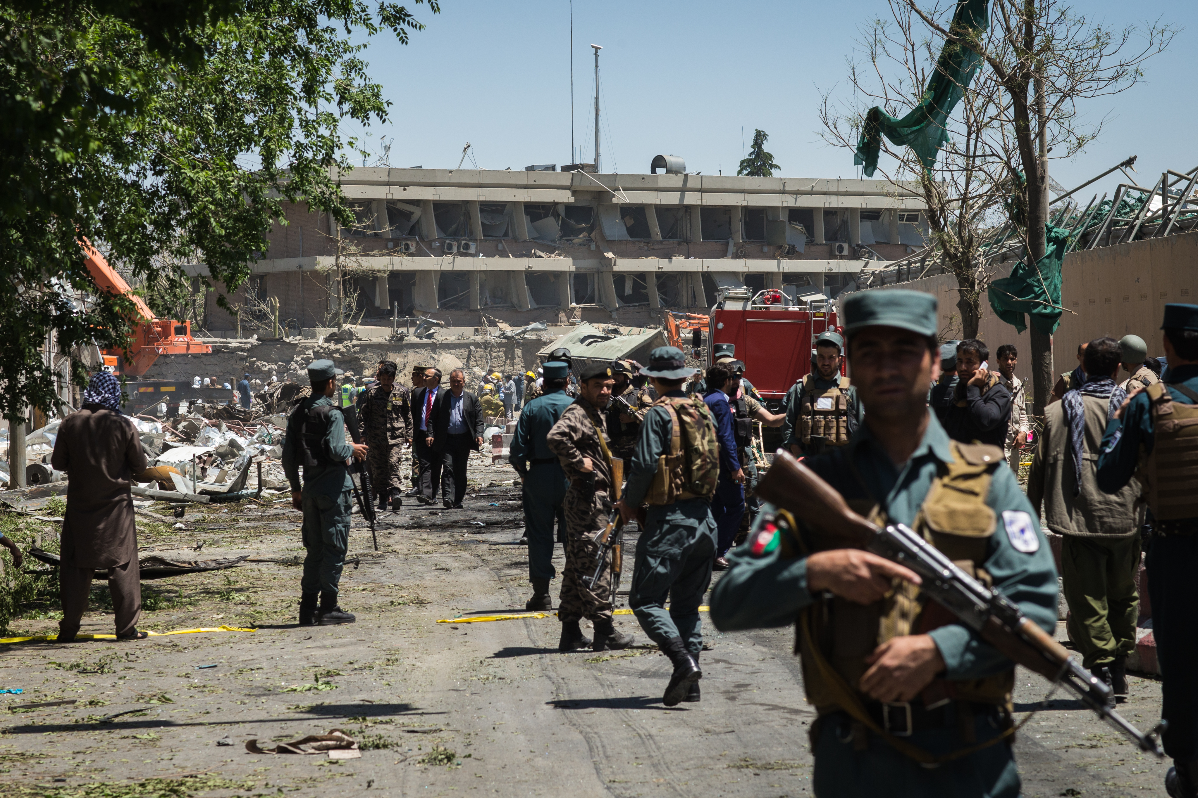 Damage from a blast that detonated in the diplomatic district in Kabul, Afghanistan