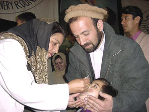 [Afghanistan] The Afghan government jointly with United Nations launched a nation-wide polio immunisation with 45000 volunteers many of them women aiming to reach six million children around the country