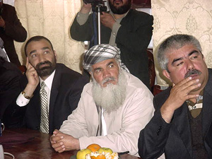 [Afghanistan] General Abdul Rashid Dustum, Ismail Khan middle and General Atta Mohammad three powerful men and big warlords in the country have come around one table in Kabul discussing future of Afghan national army.
