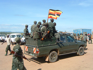 [DRC] - Ugandan soldiers parade in flambouyant exit ceremony Ituri District, Orientale Province, eastern DRC, 25/04/03 Bunia