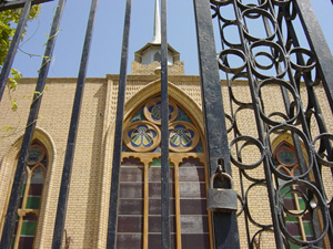 [Iraq] Gates locked outside a Christian church in Basra.