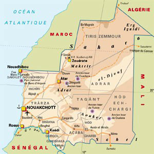 Country Map - Mauritania, Slavery was abolished in the West African Islamic state in 1980.
