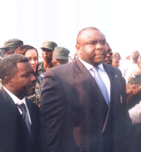 [DRC] MLC leader and vice-president designate Jean-Pierre Bemba upon his arrival in Kinshasa. Date: 16 July 2003.