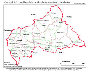 "Country Map - Central African Republic (CAR), Administrative Boundaries, 18 Oct 1996. [pdf version at <a href=""http://www.irinnews.org/images/pdf/CAR-Administrative-Boundaries.pdf"" target=""_blank"">http://www.irinnews.org/images/pdf/CAR-Administrative-Boun"