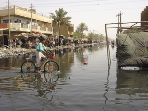 [Iraq] A street in Baghdad, flooded with sewage water.