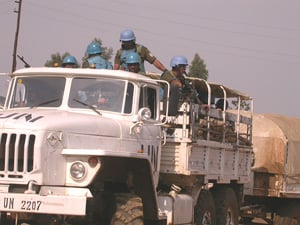 [DRC] Members of MONUC's Ituri Brigade on patrol in Bunia, 31 August 2003.