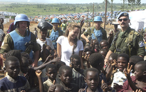 [DRC] Academy award film actress Angelina Jolie, a UN goodwill ambassador, with UN troops and children in eastern DRC. Jolie traveled from September 9-11 to Beni, Bukavu, Bunioa, Bunyakiri, Goma, Oicha, and Rutshuru in eastern DRC. The trip was facilitate