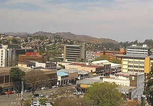 [Swaziland] Downtown Mbabane with the Central Bank Building in centre, dominating the skyline.