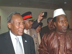 [Somalia] Abdullahi Yusuf, the newly-elected interim president of Somalia, and Alpha Ourmar Konare at the African union headquarters.