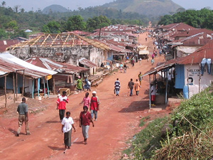 [Liberia] Voinjama, the main town of Lofa County in the heavily-forested remote northwest of Liberia, December 2004.