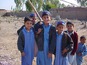 [Pakistan] Young Afghan school boys at the Kachi Garhi refugee camp in Peshawar.