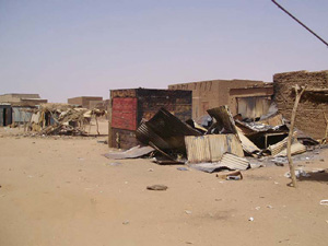 [Sudan] Tawilla, North Darfur, The market had been completely looted and parts of it burnt. 4 March 2004.