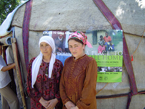 [Kyrgyzstan] Tajik refugees celebrate World Refugee Day outside a traditional Kyrgyz tent in Ivanovka.