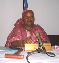 [Liberia] Frances Johnson-Morris, head of Liberia's National Elections Commission, holds press conference in Monrovia July 2004 to discuss preparations for the 2005 elections.