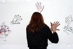 [Kyrgyzstan] Wall of hands - launching a new lesbian support group in the Kyrgyz capital.