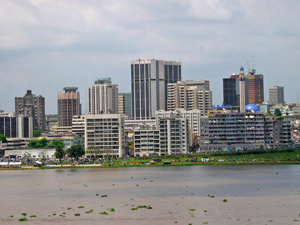 [Cote d'Ivoire] The Abidjan skyline. The city is built on a lagoon. [Date picture taken: 10/26/2005]