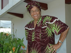 [Liberia] Presidential candidate Ellen Johnson-Sirleaf at her home on polling day, 8 November 2005. [Date picture taken: 11/08/2005]