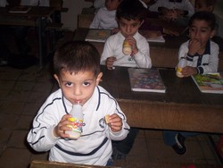 [Iraq] Children at a Baghdad school having their high energy biscuits and milk.