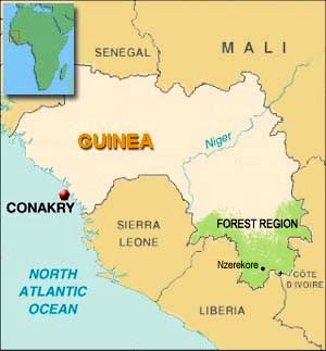Map of Guinea showing location of Forest Region.