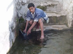 [Yemen] A young boy tries to collect as much water as possible for household use. [Date picture taken: 2003/01/04]