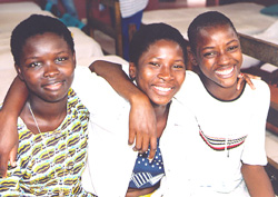 [Gabon] Children brought to Gabon by child traffickers (from left to right, Leila Ablavi 8 from Togo; Kokoue 12 from Benin and Latre 11 from Togo)