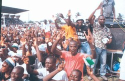 [Cote d'Ivoire] Jeunes Patriotes (Young Patriots) at a rally in Abidjan. The group are militant supporters of Ivorian President Laurent Gbagbo.