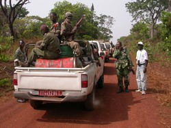[Central African Republic (CAR)] Military escort with WHO convoy on the road between Bossangoa and Bangui. Date taken: 26 February 2005.