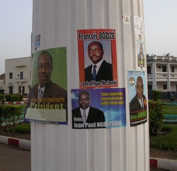 [Central African Republic (CAR)] Posters on presidential candidates in the capital, Bangui. Date taken: 26 February 2005.