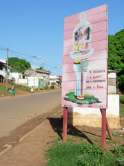 [Sao Tome & Principe] Signboard in Sao Tome city urges people to use condoms to prevent the spread of AIDS.