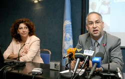 [Lebanon] Dr Jawad Mahjour (right), WHO Representative in Lebanon, with Dr Alissar Rady, WHO National Professional Officer. [Date picture taken: 10/10/2006]