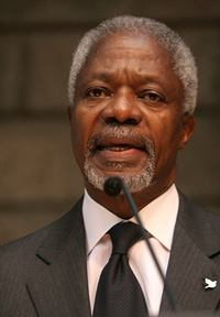 [Kenya] United Nations Secretary-General Kofi Annan addressing the opening ceremony of the 12th session of the United Nations conference on climate change, Kenya, 15 November 2006. Annan announced the 'Nairobi Framework'. Six UN agencies have launched