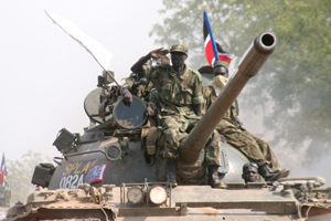 [Sudan] SPLM/A fighters entering Juba on 4 December 2005.