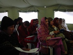 [Pakistan] Women gather at Muzaffarabad's Female Committee  to discuss issues impacting them in Pakistan's quake-devastated north. [Date picture taken: 02/21/2006]