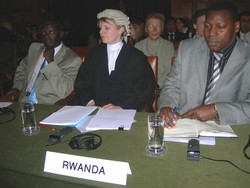 [DRC/Rwanda] (From left to right) Rwandan deputy Prosecutor-general Martin Ngoga, Rwanda's counsel and Ambassador Joseph Bonesha in the ICJ courtroom in The Hague on 3 February 2006. [Date picture taken: 02/03/2006]