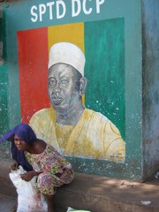 [Guinea] A wall mural of President Lansana Conte in the capital Conakry. [Date picture taken: 02/28/2006]