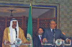 [Egypt] Arab League Secretary General Amr Moussa and United Arab Emirates Deputy Foreign Minister Hussein al-Shaari address reporters. [Date picture taken: 07/15/2006]