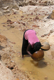 A woman pans for gold with a kitchen calabash in a riverbed, Sierra Leone, 9 January 2006. This woman and others like her form the backbone of Sierra Leone's small-scale alluvial gold-mining industry, where 90  percent  of the prospecting is done by women