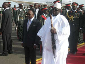 [The Gambia]  [Date picture taken: 06/06/2006] Gambian president Yahya Jammeh (right) with Omar Bongo of Gabon (left) pictured at the African Union summit in Banjul, June 2006